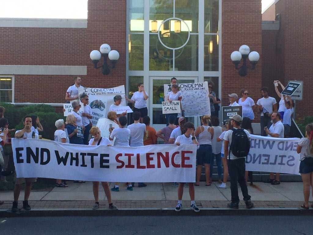 SURJ Holds 'End White Silence' protest and march from North Main and Farmington to the West Hartford Police Station. Photo credit: Ronni Newton
