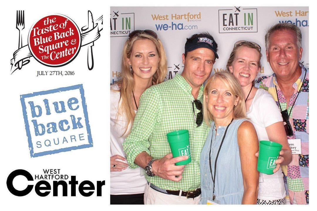 Cheyney Barrieau, Jimmy Altman, Ronni Newton, Kristen Fritz and Tom Hickey at Taste of Blue Back Square & The Center on July 27, 2016. photo by SnapSeat Photo Booth