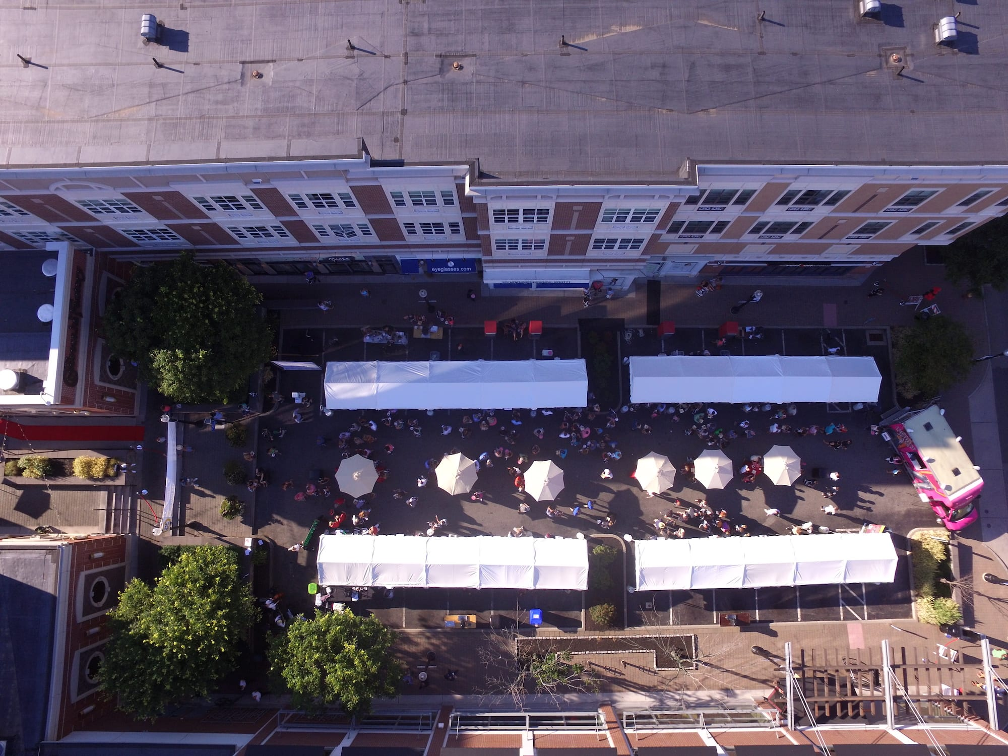 "Directly above the sold-out, Taste of Blue Back Square & The Center on July 27, 2016. Jade Marketing Group's ""Jean Machine"" is visable at the far right. photo by Tanner Kreidel"