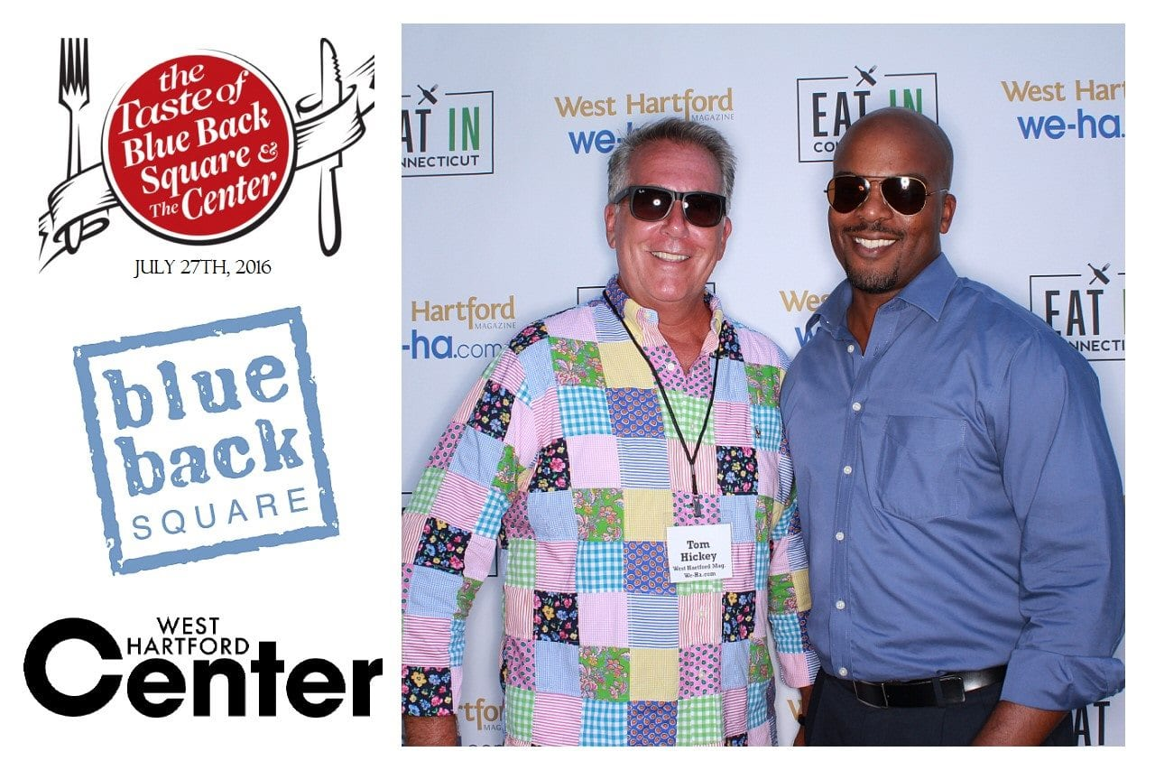 West Hartford Magazine's Tom Hickey with NBC Connecticut's Anthony Wiggins at Taste of Blue Back Square & The Center on July 27, 2016. photo by SnapSeat Photo Booth