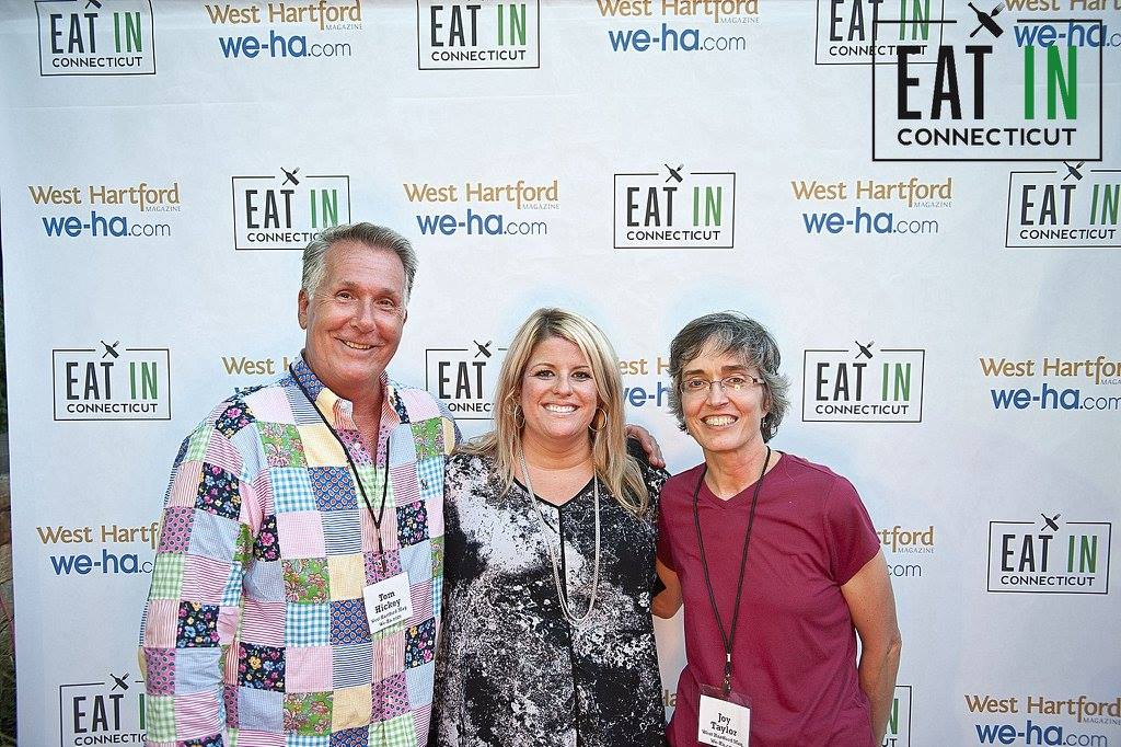 Blue Back Square's Marketing Director Elizabeth Zigmont is flanked by West Hartford Magazine's Tom Hickey and Joy Taylor at Taste of Blue Back Square & The Center on July 27, 2016. photo courtesy of Eat IN Connecticut/Cheyney Barrieau