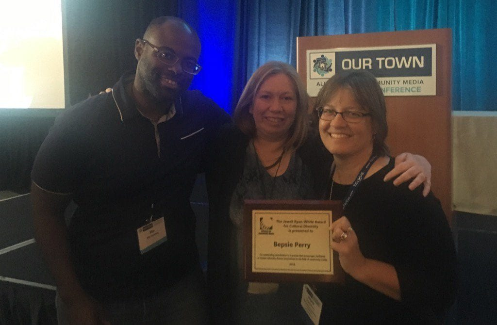 From left: WHC-TV's Jitu Huntley and Jennifer Evans with Bepsie Perry at the ACM National Conference. Submitted photo