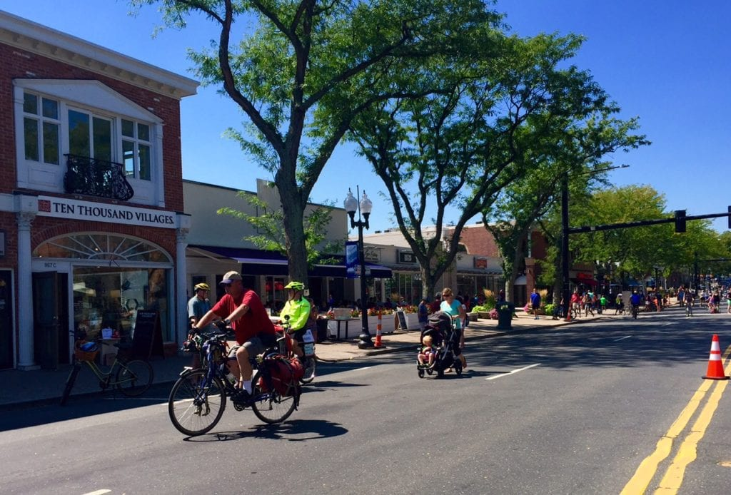 Bikes were the main mode of transportation on Farmington Avenue Sunday morning. The roadway was closed to vehicle traffic for Center Streets. Photo credit: Ronni Newton
