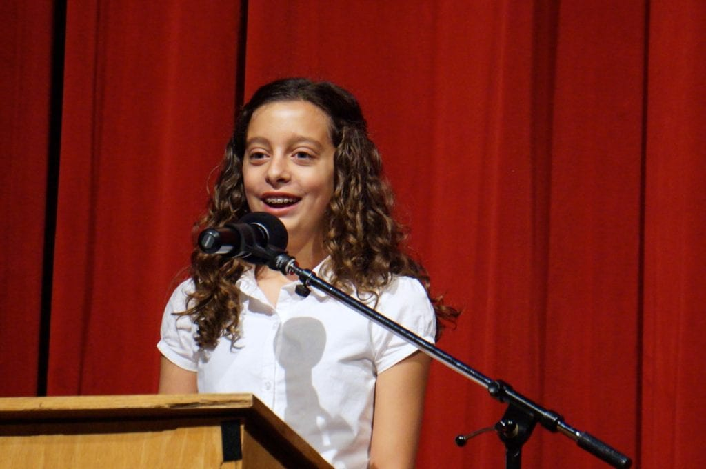 Smith STEM graduate Estelle Cohen earned a standing ovation for her 'Insights of a Student' speech at convocation. Aug. 29, 2016. Photo credit: Ronni Newton