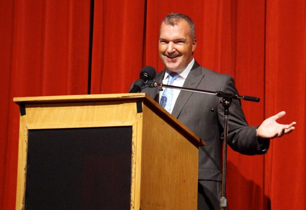 Asst. Superintendent for Curriculum, Instruction and Assessment Paul Vicinus served as emcee at convocation. Aug. 29, 2016. Photo credit: Ronni Newton