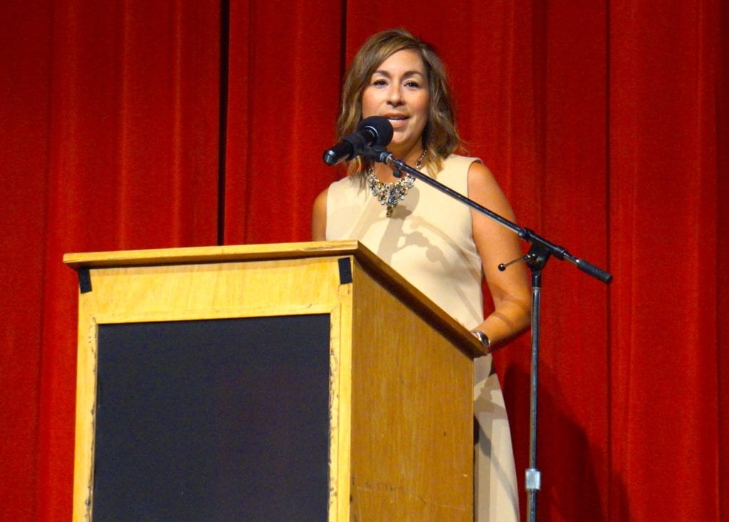 Smith STEM Principal Teresa Giolito welcomed teachers and administrators to the annual convocation. Aug. 29, 2016. Photo credit: Ronni Newton