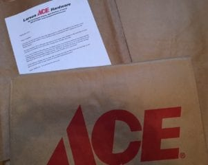 Larsen Ace Hardware gained major points after delivering free yard waste bags to homes in the West Hartford Center neighborhood. Photo credit: Ronni Newton (Bags courtesy of my sister who lives near the Center)