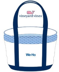 """The private label """"We-Ha"""" Vineyard Vines classic tote is a popular item in the new store."""