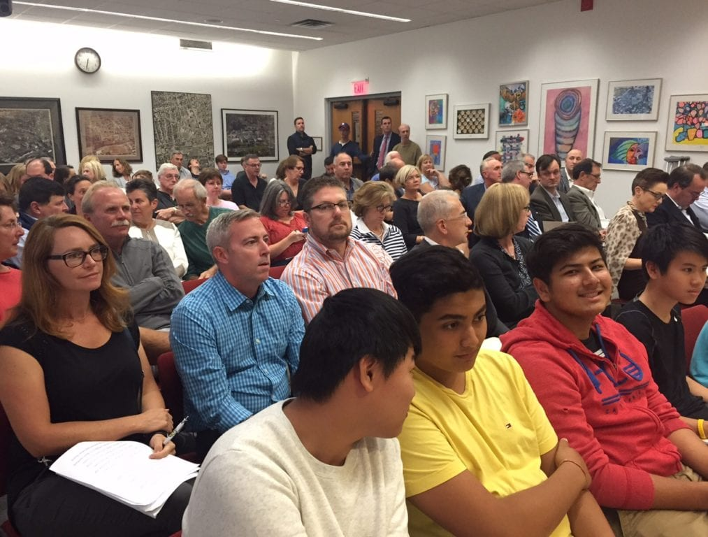 Town Council chambers were packed Tuesday, Sept. 27, 2016, for a public hearing on a zoning amendment that would allow for increased FAR in zone BC. Photo credit: Ronni Newton