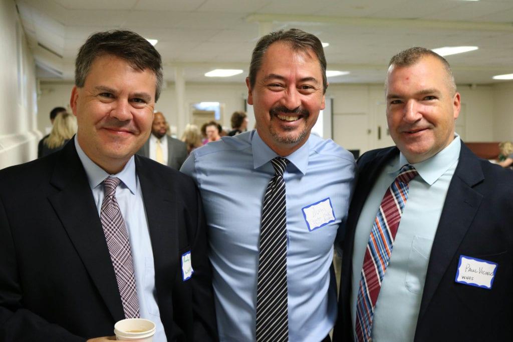 From left: Asst. Superintendent Andy Morrow, Charter Oak International Academy Principal Juan Melian, Asst. Superintendent Paul Vicinus. Photo credit: Amanda Aronson