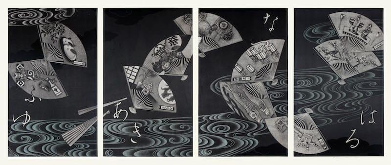 HAMANISHI Katsunori (b. 1949). Japanese Classic Calendar, 2015. Mezzotint printed in color, 59.6 x 36.1 each panel (quadriptych). Art Museum, USJ, purchase with a gift from Edwina Bosco '50. ©HAMANISHI Katsunori. Courtesy photo