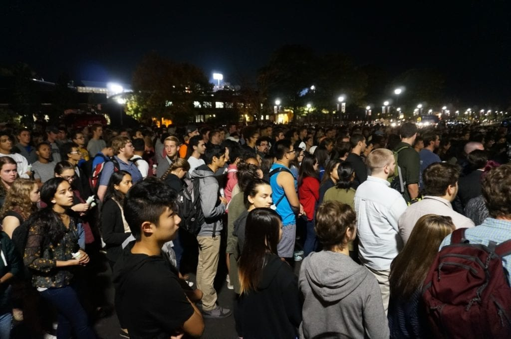 A large crowd, estimated at more than 1,000, attended the candlelight vigil for Jeffny Pally. Photo credit: Ronni Newton