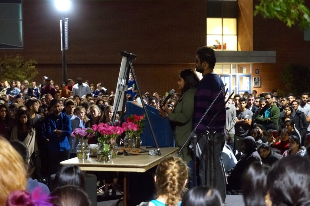 Jenny Pally, Jeffny's sister, speaks to the crowd at the candlelight vigil. Photo credit: Ronni Newton