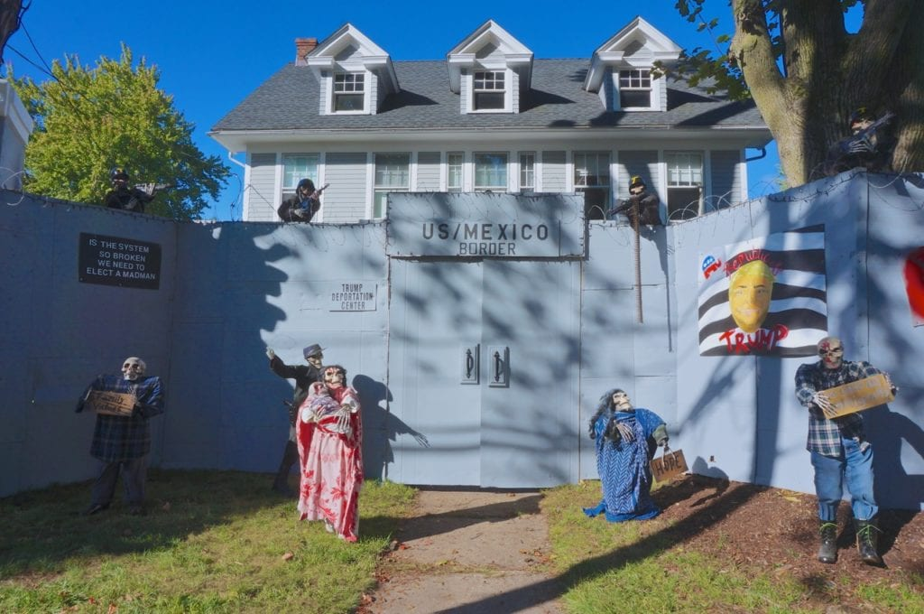 an 8 foot high wall provides the backdrop for matt warshauers halloween display at