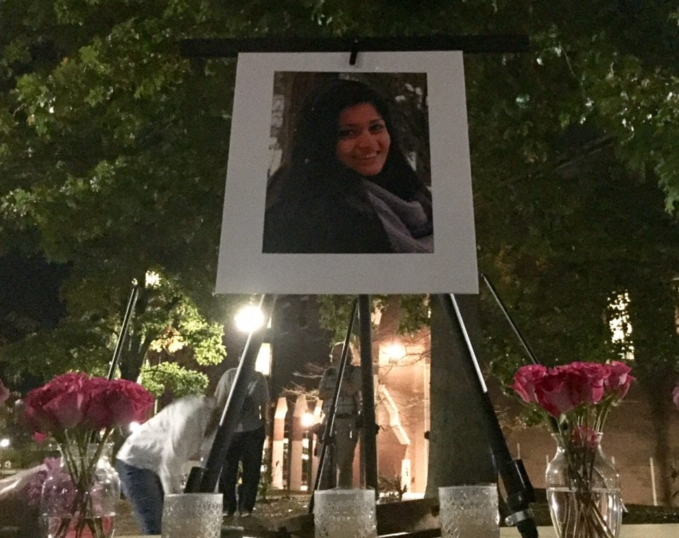 Friends and family honored Jeffny Pally, a UConn sophomore and 2015 graduate of West Hartford's Hall High School, who was fatally injured by a fire department vehicle early Sunday morning. Photo credit: Ronni Newton