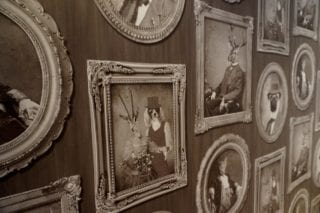 'Vintage' wallpaper adorns the wall in one area of Noble & Co. – soon to open on LaSalle Road in West Hartford Center. Photo credit: Ronni Newton
