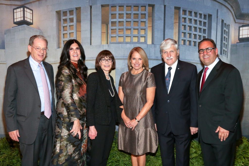 From left: Chairman US Holocaust Memorial Council Tom Bernstein, Marcia Lazowski, Museum Director Sara Bloomfield, Katie Couric, Lieutenant-General Romeo Dallaire, and Alan Lazowski. Photo credit: Michael Priest for US Holocaust Memorial Museum