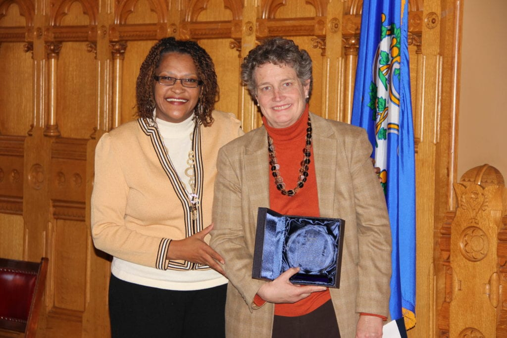 State Sen. Beth Bye of West Hartford (right) with Connecticut Commission on Human Rights and Opportunities Deputy Director Cheryl Sharp. Submitted photo