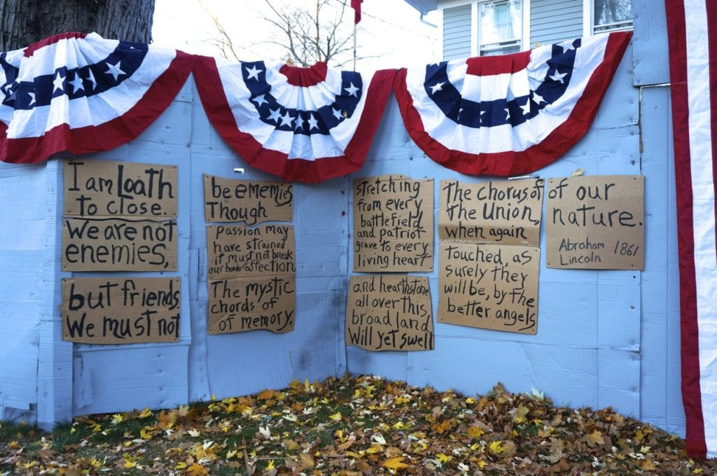 Matt Warshauer of West Hartford has transformed his politically-oriented Halloween scene to an Election Day message of hope with the words of Abraham Lincoln. Photo credit: Ronni Newton