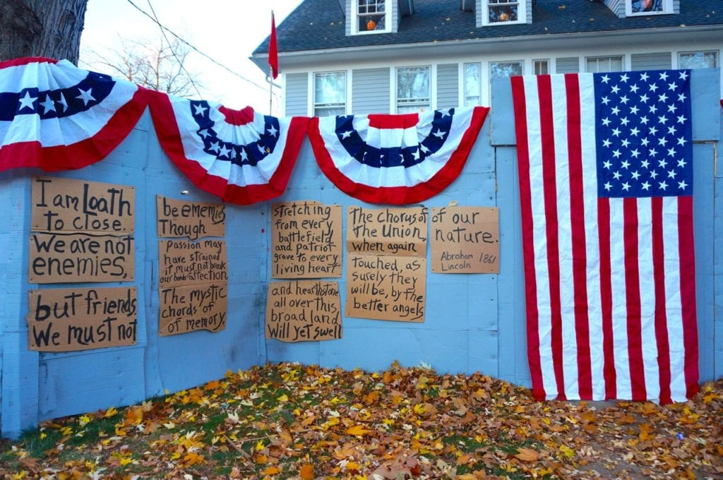 Bunting and flags left over from a previous Civil War display were used for the revised rendition of Matt Warshauer's North Main Street display. PHoto credit: Ronni Newton