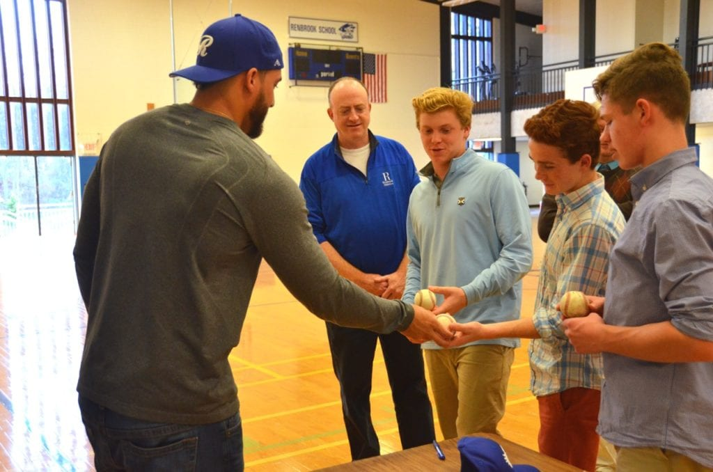 MLB player George Springer, outfielder for the Houston Astros, visited Renbrook School in West Hartford. Submitted photo