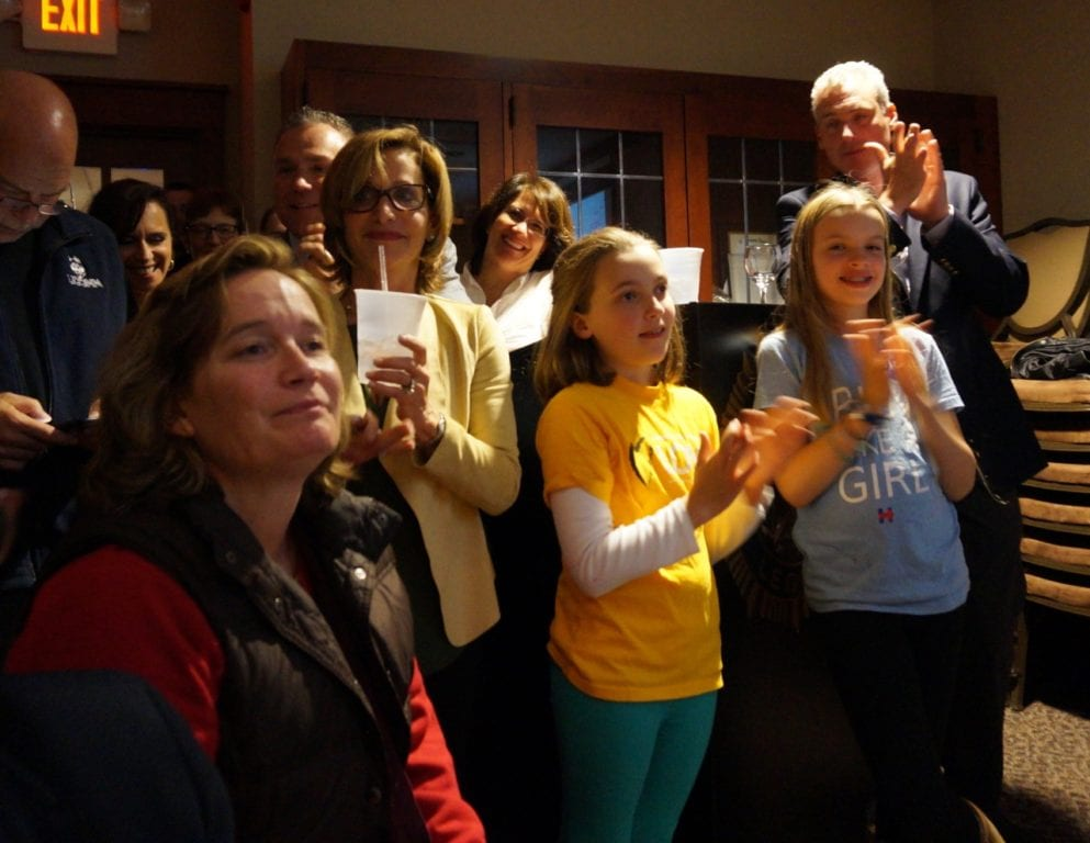West Hartford Democrats cheer for local candidates who were elected Tuesday night. Photo credit: Ronni Newton