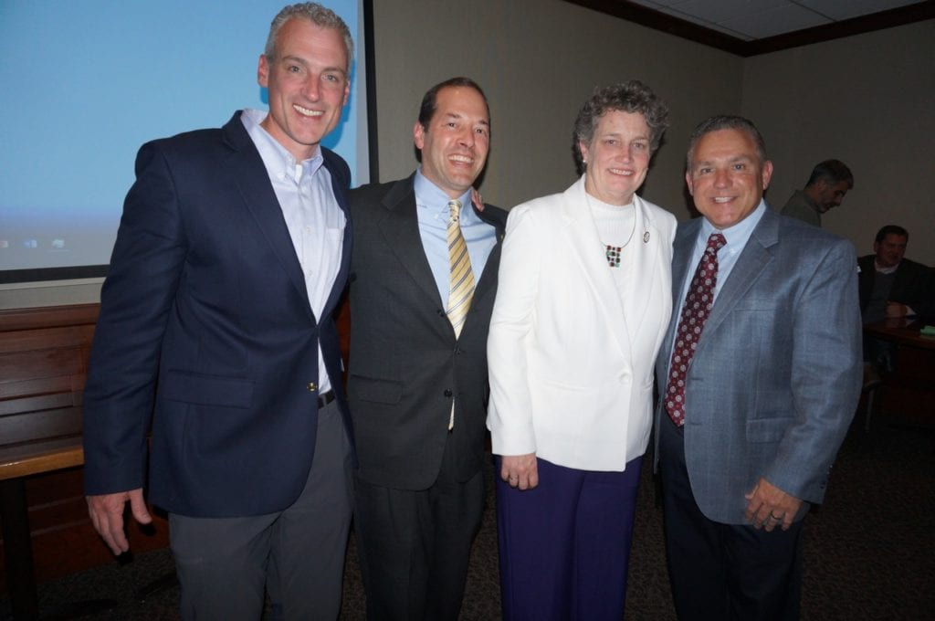 West Hartford's legislative delegation will include (from left) newcomer Derek Slap and incumbents Andy Fleischmann, Beth Bye, and Joe Verrengia. Photo credit: Ronni Newton