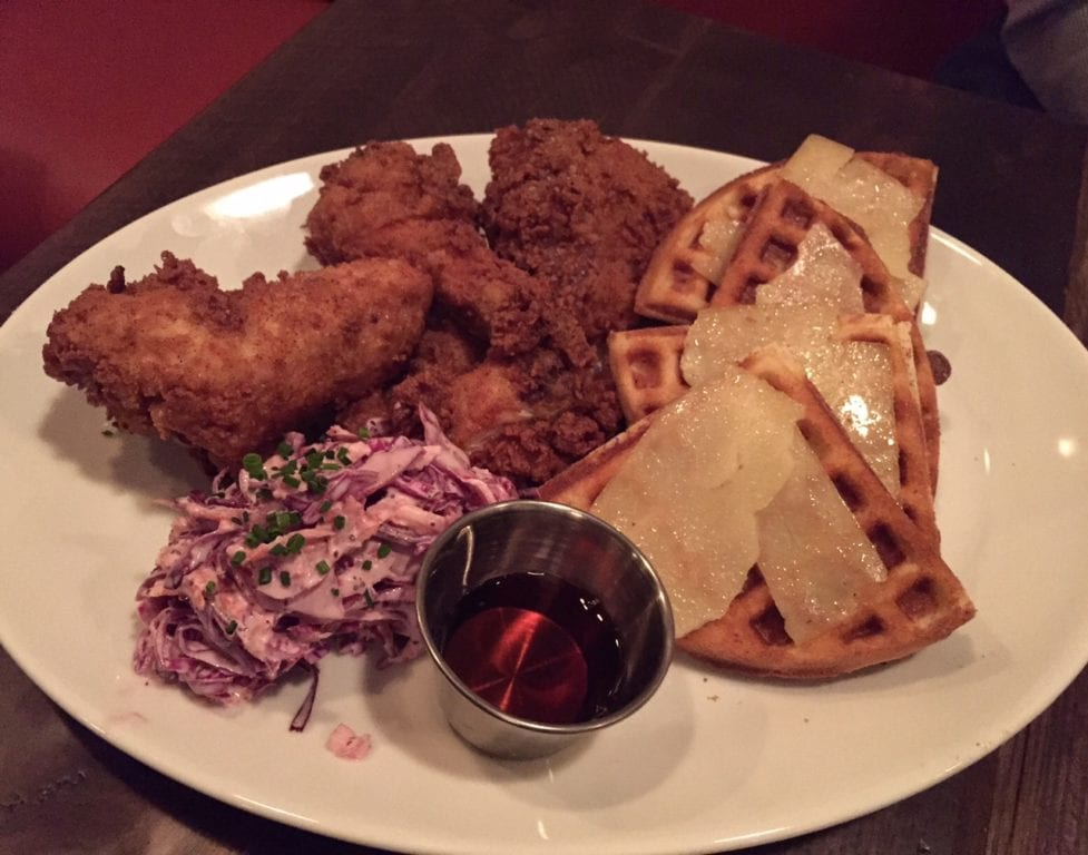 Chicken and waffles with cole slaw. Park & Oak Restaurant. Photo credit: Ronni Newton