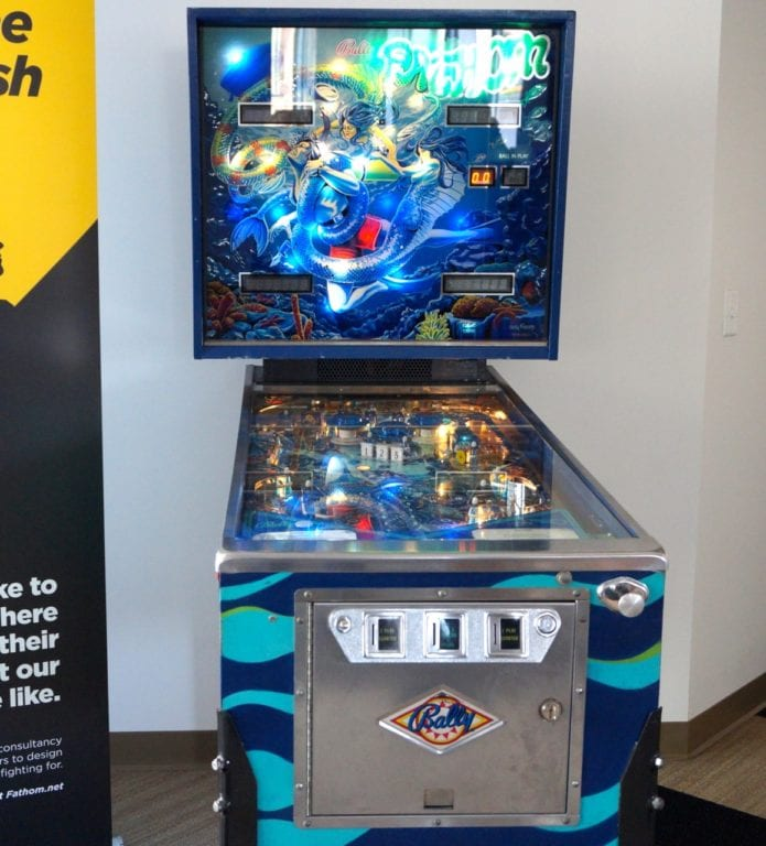 A pinball machine is available as a diversion to WeHa Works members. Photo credit: Ronni Newton