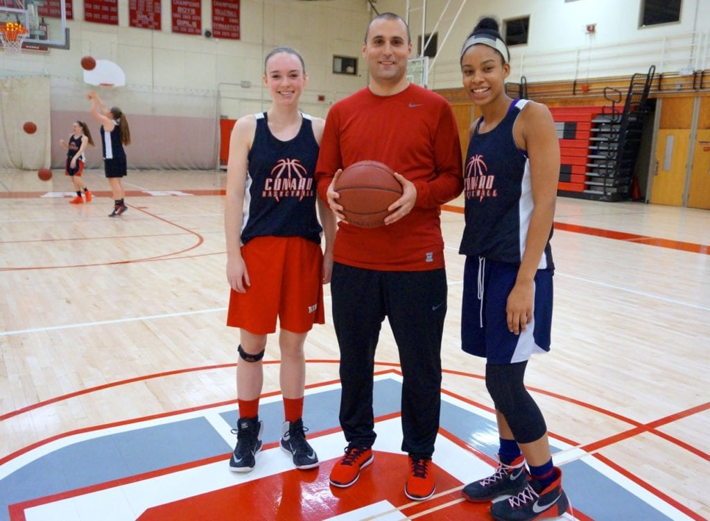 Mike D'Angelo (center) has taken over the girls basketball program at West Hartford's Conard High School. Pictured with senior captains Liz Ladd (left) and Tatiana St. Juste. Photo credit: Ronni Newton