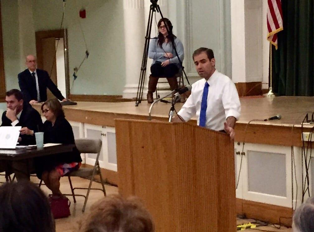 Hartford Mayor Luke Bronin spoke at West Hartford Town Hall Tuesday night. Photo credit: Ronni Newton
