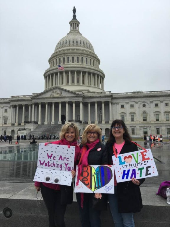 From left: Carol Dupuis, Joan Karas, Ellen Dupuis. Women's March on Washington. Photo courtesy of Carol Dupuis