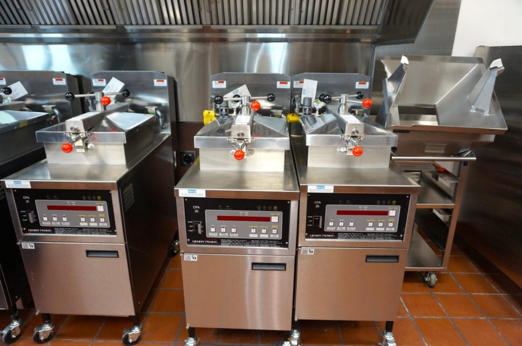 Gleaming stainless steel equipment is ready to be installed in the West Hartford Chick-fil-A kitchen. Photo credit: Ronni Newton
