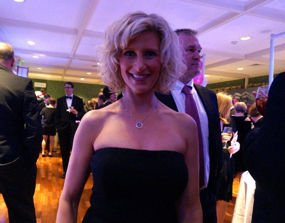 Heather Clifford's diamond necklace was donated by Monarch Jewelers and was one of the live auction items. Bridge Family Center's 18th Annual Children's Charity Ball. Jan. 21, 2017. Photo credit: Ronni Newton