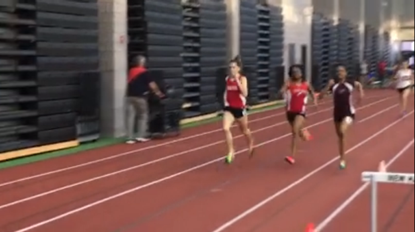 Conard junior Libby McMahon sprints down the stretch to finish in first place with a new school record in the 600 meter race at the SCC-Coaches Invitational. Photo courtesy of Chris McMahon