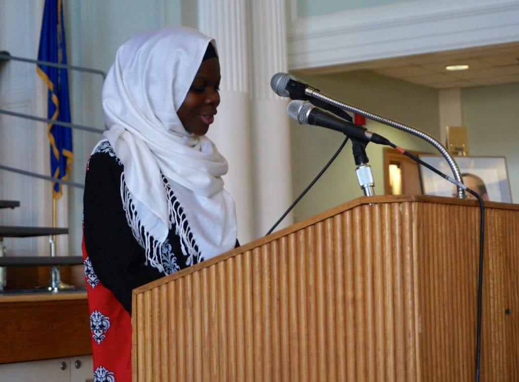 Student speaker Madino Hassan from Conard High School. Photo credit: Ronni Newton