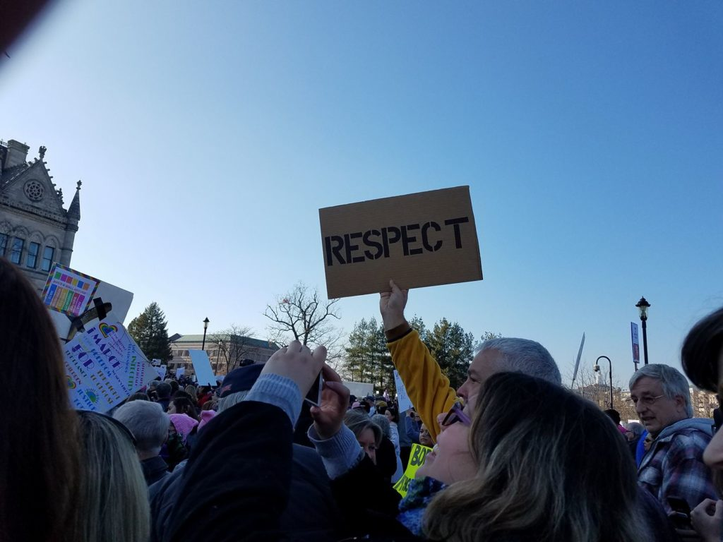 Crowd at the Women's March on Hartford, CT: in solidarity with Washington! photo by Beth Brigham