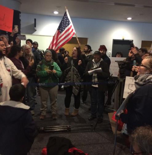 Bradley Airport protest Sunday, Jan. 29, 2017. Photo courtesy of Ben Wenograd
