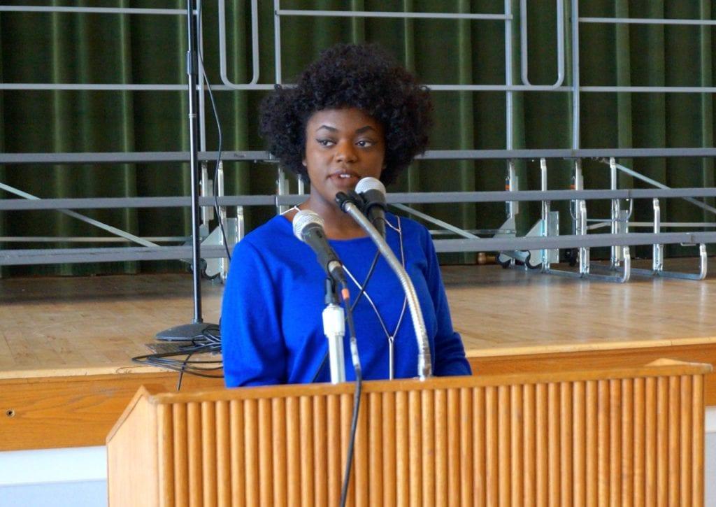 Student speaker Amina Symone Lampkin from Hall High School. Photo credit: Ronni Newton