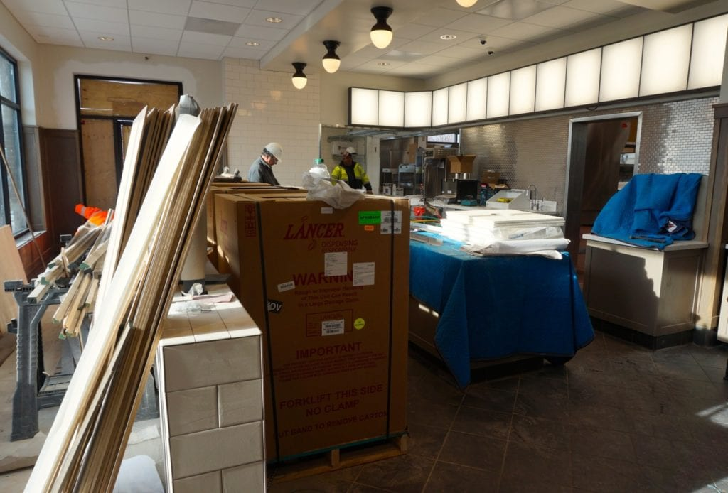 Finish work is being done at the counter for the West Hartford Chick-fil-A. Photo credit: Ronni Newton