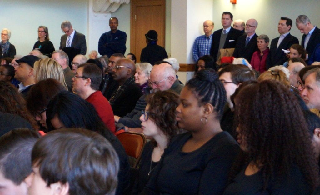 The standing-room-only crowd at West Hartford's Martin Luther King Day celebration included state and local officials. Photo credit: Ronni Newton