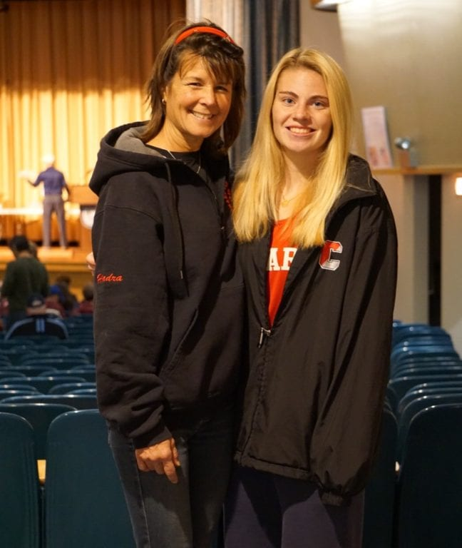 Gwen Geisler (right) with Conard Girls Cross Country coach Leslie Hadra. Courtesy photo