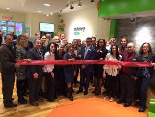 Mayor Shari Cantor and members of the West Hartford Chamber of Commerce joined Nutmeg State Financial Credit Union for a ribbon cutting on Jan. 18. Photo credit: Ronni Newton