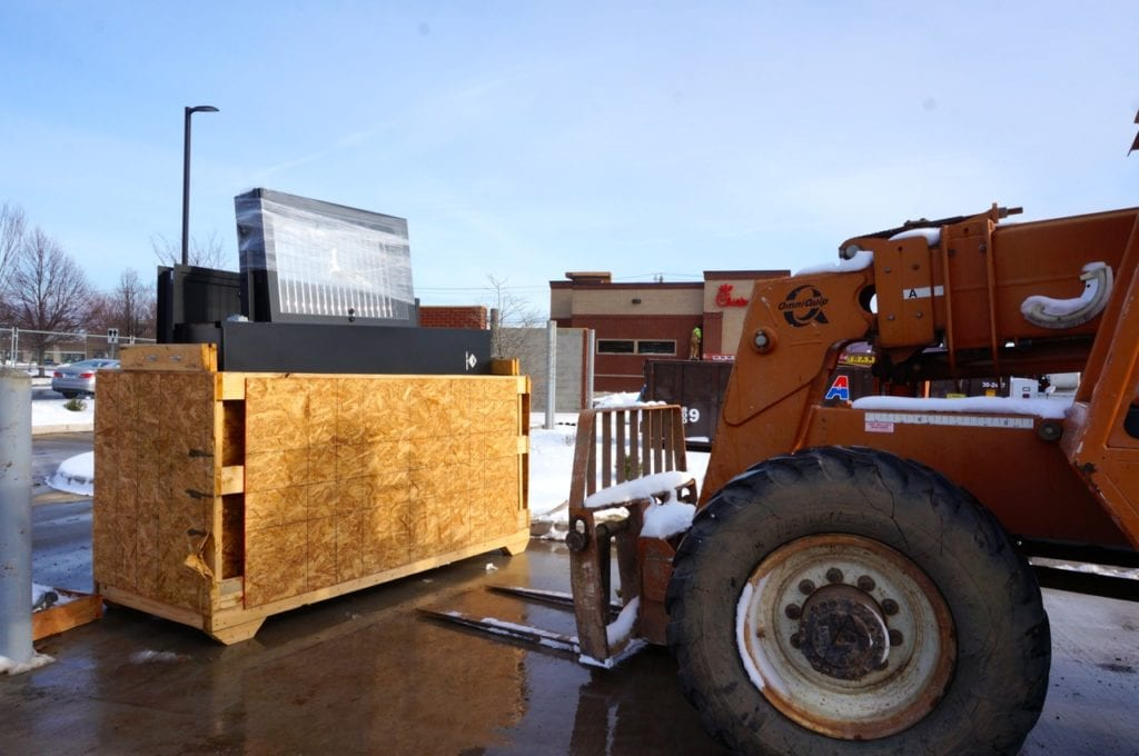 The order board will be installed for the Chick-fil-A West Hartford drive-thru. Photo credit: Ronni Newton