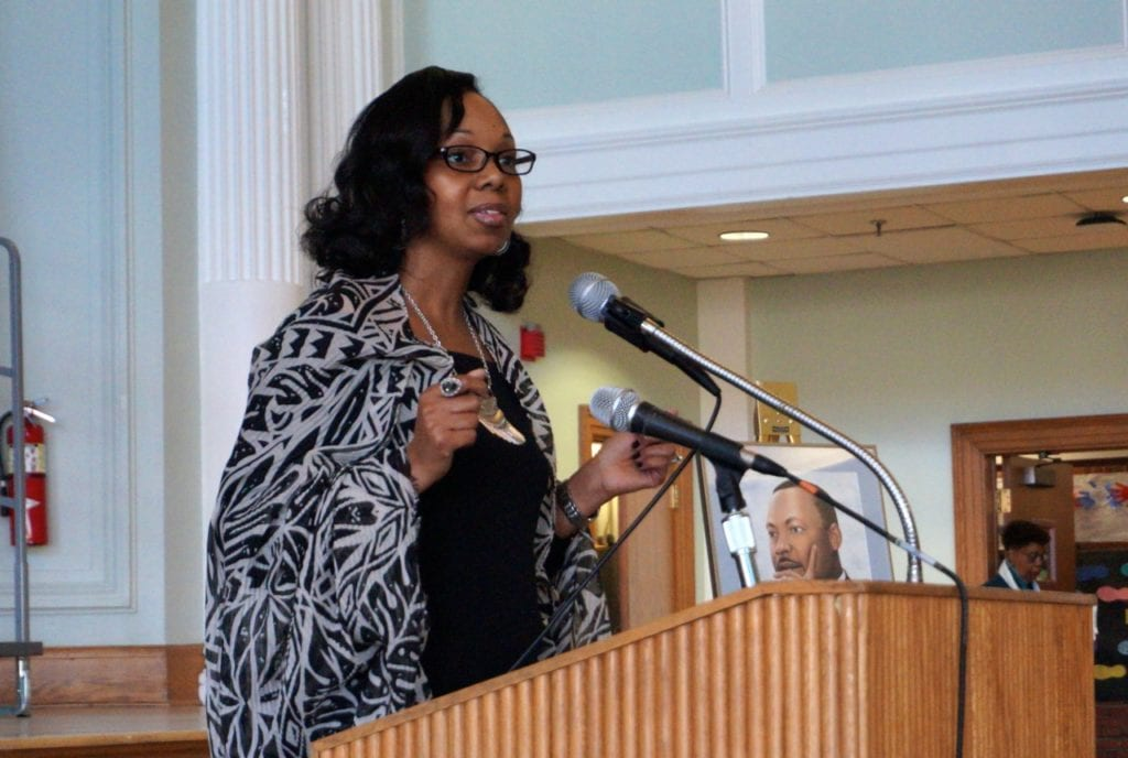 Roszena Haskins, WHPS director of Continuing Education and Diversity, served as emcee. Photo credit: Ronni Newton