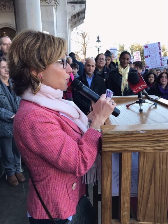 West Hartford Mayor Shari Cantor speaks to the crowd. Women's March Connecticut. Photo courtesy of Beth Bye