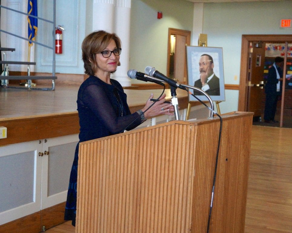 Mayor Shari Cantor welcomed the audience to West Hartford's Martin Luther King Day celebration. Photo credit: Ronni Newton