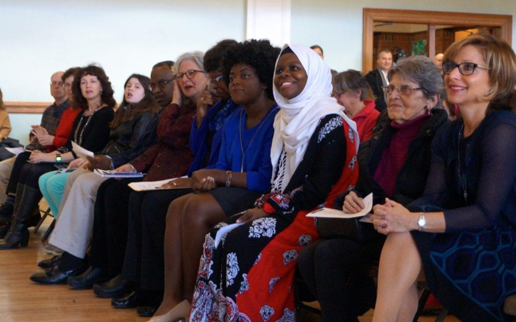 Mayor Shari Cantor (right) and speakers at the Martin Luther King Jr. celebration at West Hartford Town Hall. Photo credit; Ronni Newton