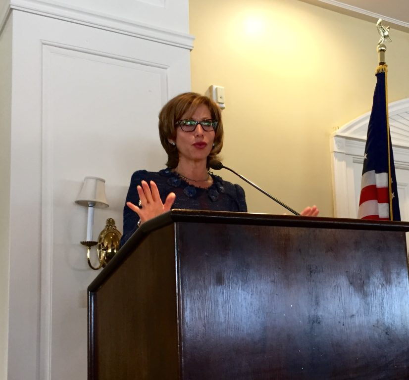 West Hartford Mayor Shari Cantor gave her 'State of the Town' address at the annual Chamber of Commerce luncheon on Jan. 26, 2017. Photo credit: Ronni Newton