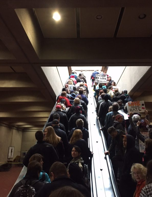 East Fall Church Metro Station packed to capacity. Women's March on Washington. Photo courtesy of Sharon Brewer